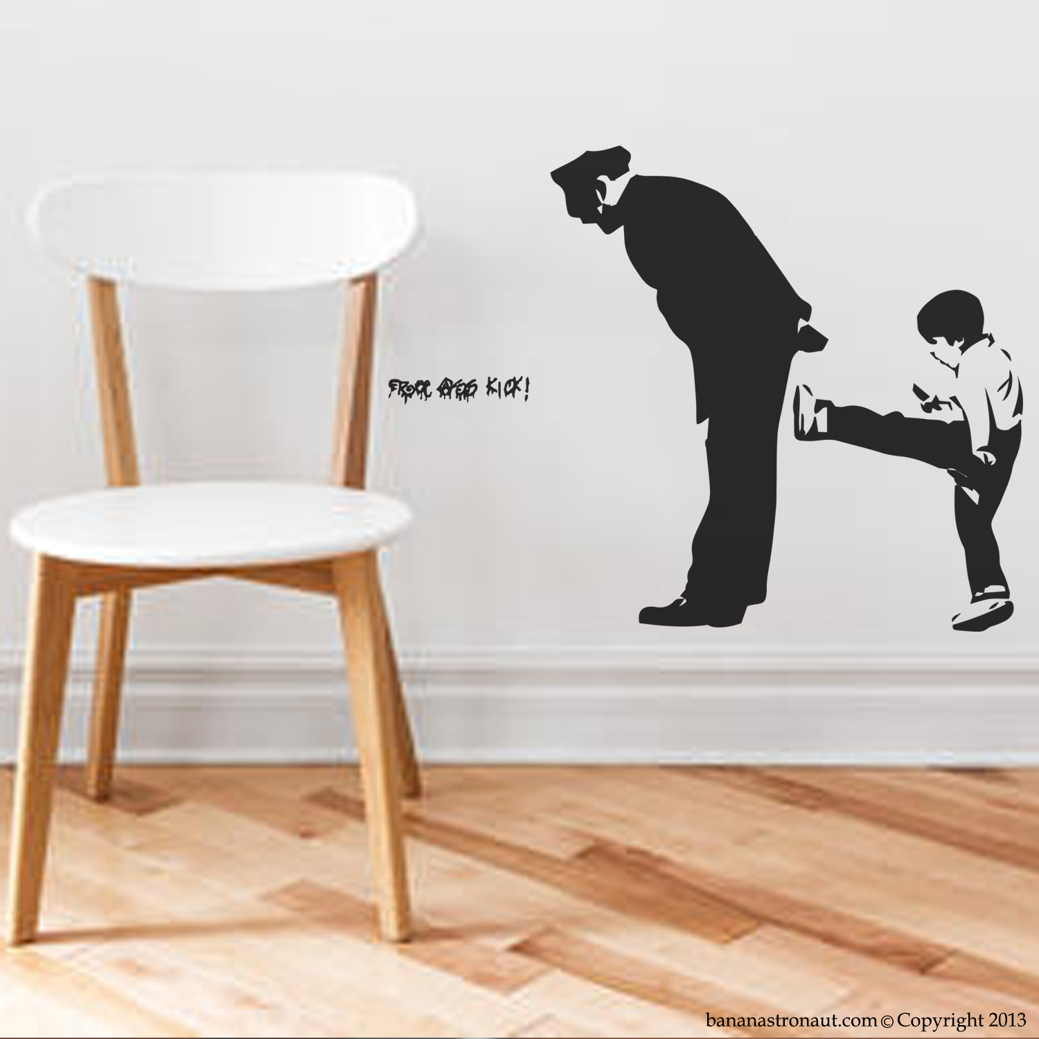 banksy wall decal free kick ass street art modern home wall it s fully cleaned before applying the wall decal don t apply wall decals to unfinished wood rugs fabrics clothing or other textiles as the fibers