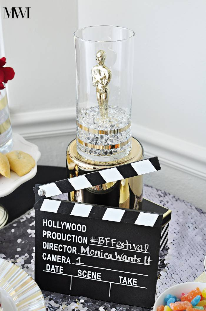 DIY movie awards show party centerpiece ideas, recipes and free printables via monicawantsit.com