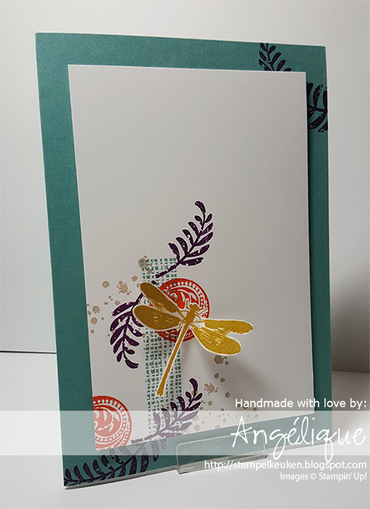 http://stempelkeuken.blogspot.com De Stempelkeuken Awesomely Artistic, Lost Lagoon, Hello Honey, Blackberry Bliss, Mossy Meadow, Tangelo Twist, Stampin' Dimensionals, Wink Of Stella