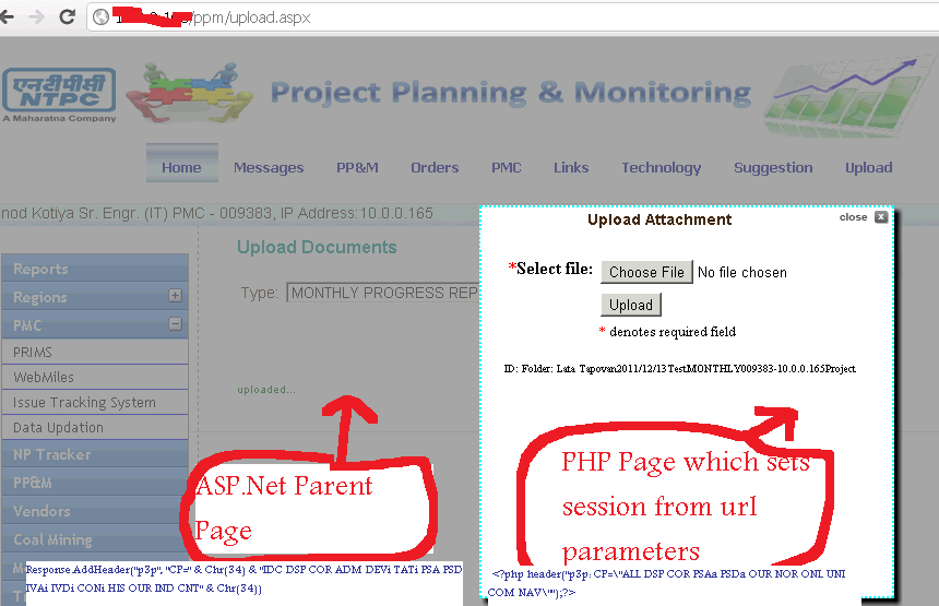 ASP Net with PHP : Session lost in iframe accessing php page