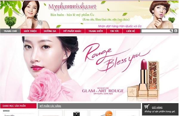 Thiết kế website bán mỹ phẩm online