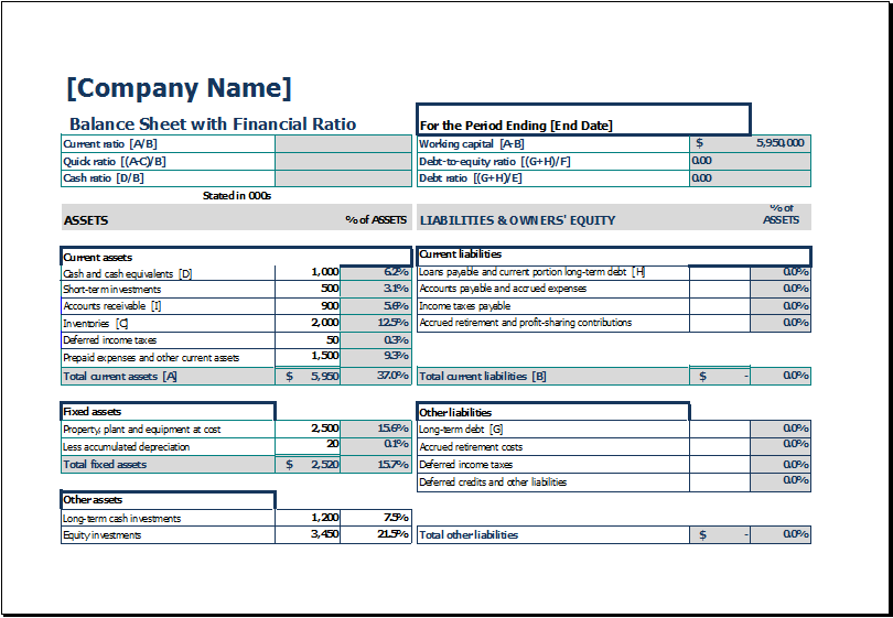 Download Free Balance Sheet Templates in Excel - Excel Template