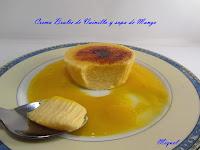 Crema Brulée de Vainilla con sopa de Mango