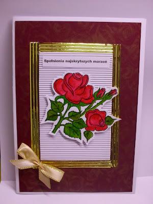 Kartka okolicznościowa róża ręcznie malowana