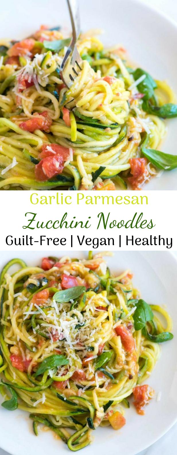 Garlic Parmesan Zucchini Noodles #healthyrecipe #vegetarian
