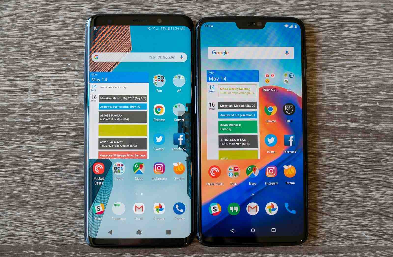 Identical OLED panels on both the Samsung Galaxy S9 Plus and the OnePlus 6