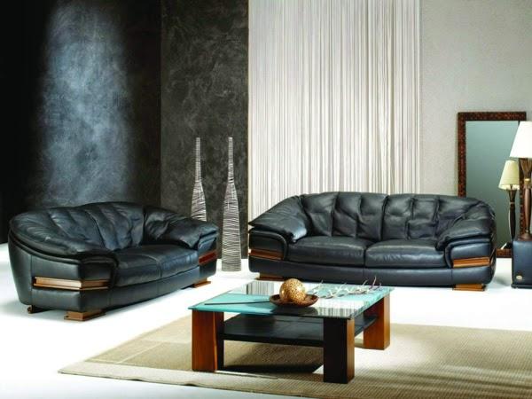 sala con sofás de cuero