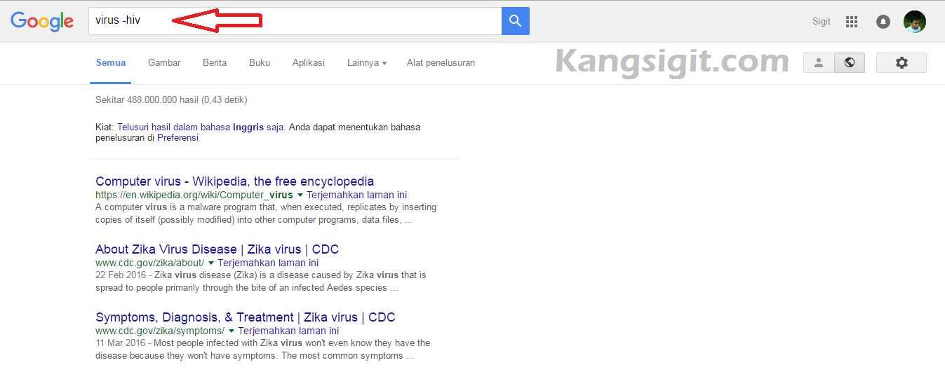 Pencarian dengan keyword Virus dan eliminasi HIV