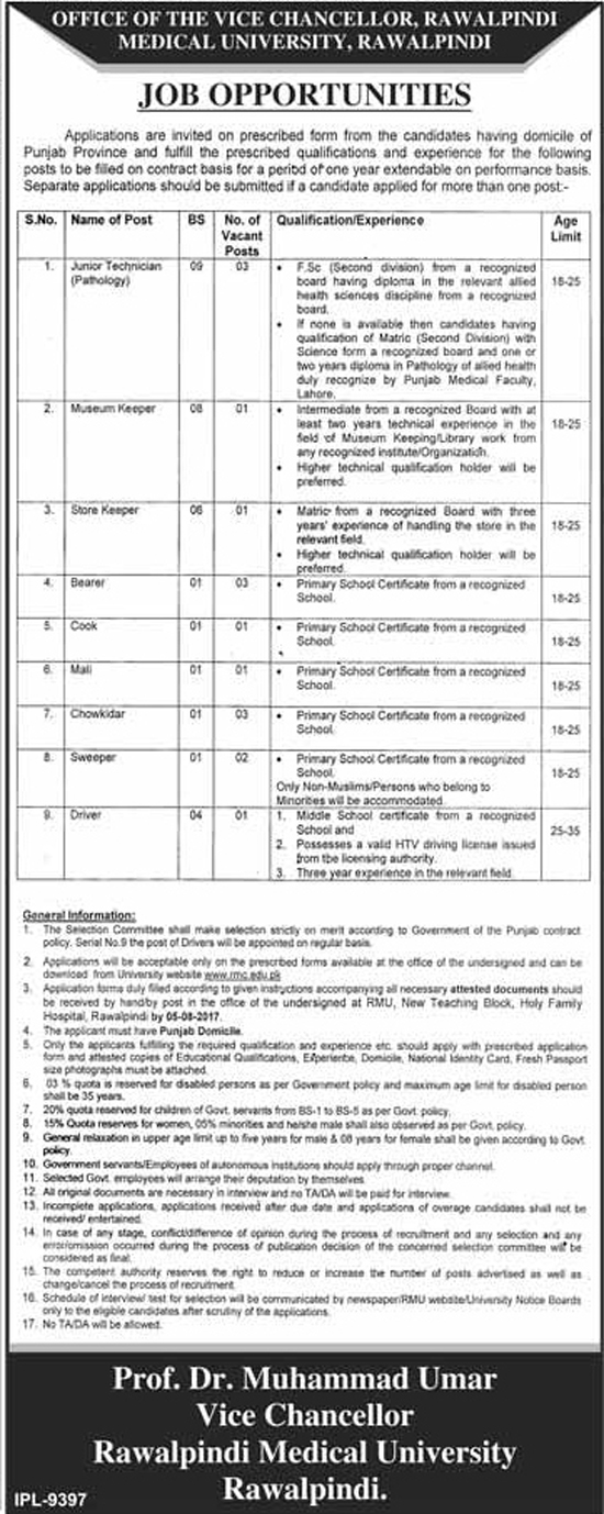 Jobs in Rawalpindi Medical University 18 July 2017