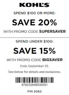 Kohl's coupon 20% off $100 purchase