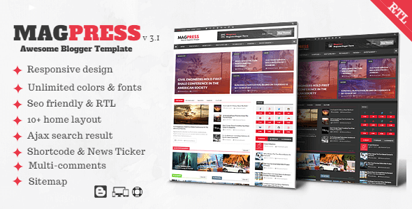 Free Download Magpress V3.1 - Magazine Responsive Blogger Template