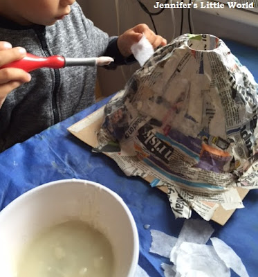 How to make a papier mache volcano with children