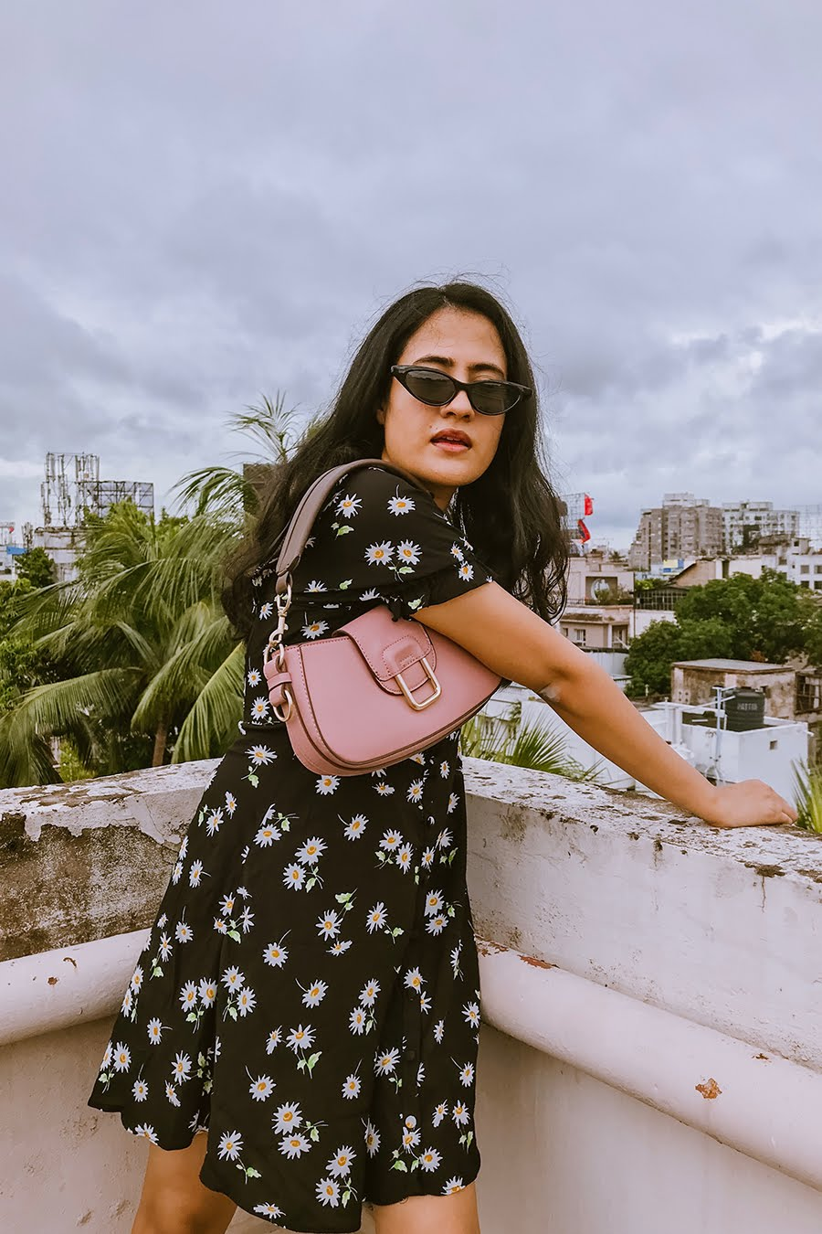 baguette bag ,black floral mini dress , fashion blog, style blogger