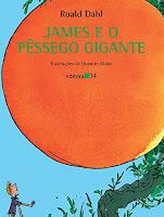 """Capa do livro infanto-juvenil """"James e o Pêssego Gigante"""", de Roald Dahl."""