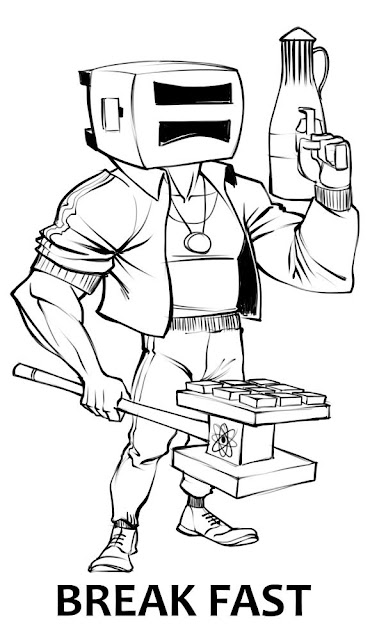 "A muscular character in a cropped jacket with a toaster for a head, a carafe as a gun, and a waffle press hammer labeled ""BREAK FAST"""