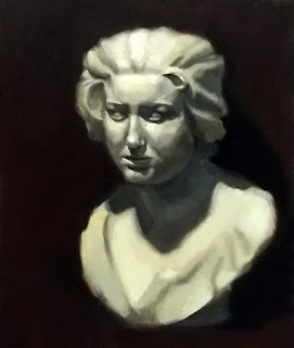 Oil painting of a plaster cast of the bust of a young woman.