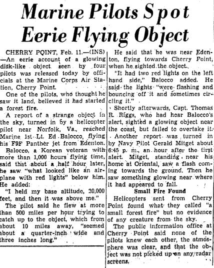 Marine Pilots Spot Eerie Flying Object - Greensboro Daily News (North Carolina) 2-12-1953