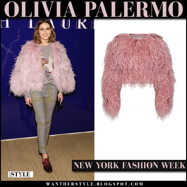 Olivia Palermo in pink feather cropped jacket cinq a sept and grey checked pants front row fashion february 12
