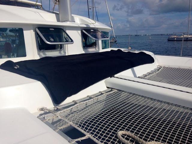 Fender Cover on a sailing catamaran