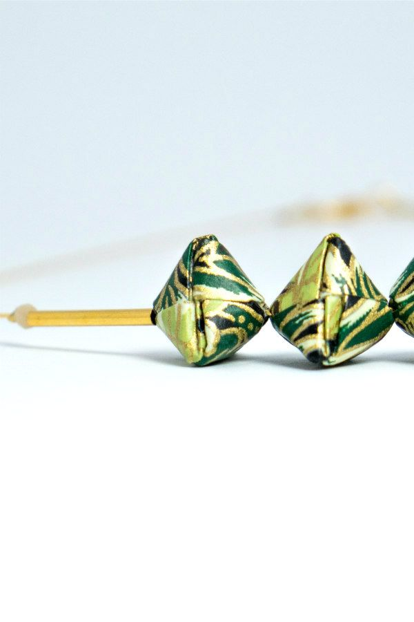 origami beads in shades of green on necklace
