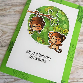 Shaker card with Cheeky Monkey stamp set from Clearly Besotted