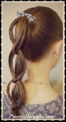 Adorable fishtail chain braid ponytail hair tutorial.