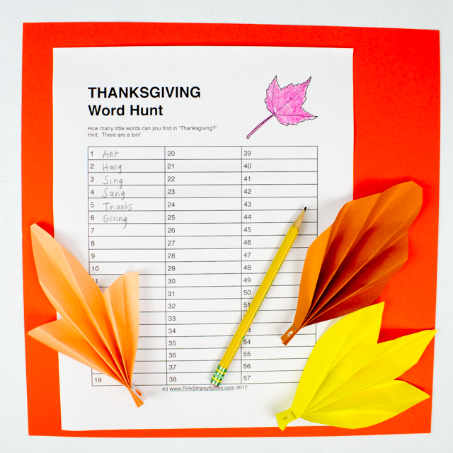 Free Thanksgiving Printables for Kids- Acrostic Poem and Word Hunt