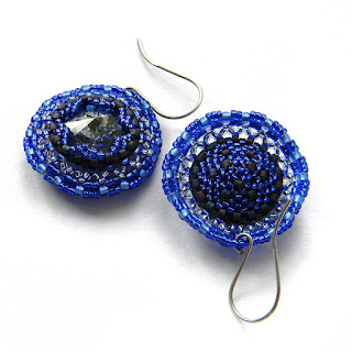 синие Серьги с кристаллами Сваровски (Swarovski)