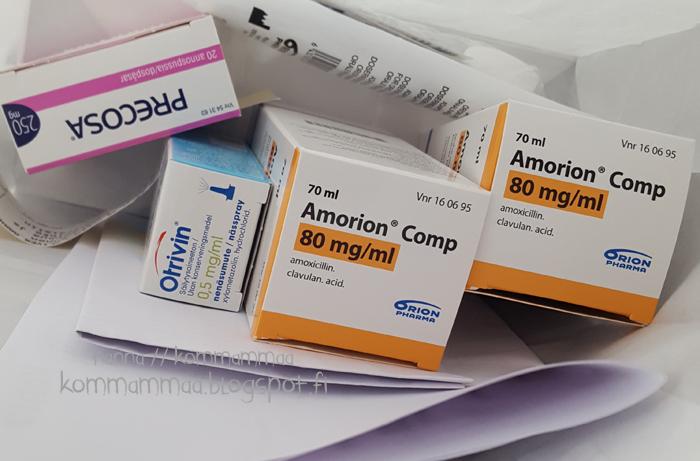 amorion precosa otrivin lennolle antibiootti maitohappobakteeri matkalle korvatulehdus