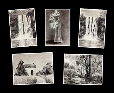 Few charcoal drawings created by participants who attended a two days workshop by Manju Panchal