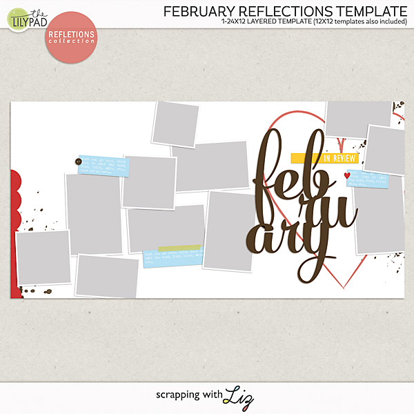 Digital Scrapbook Month in Review Template