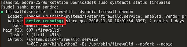 Firewall ativo no Fedora 25 Workstation