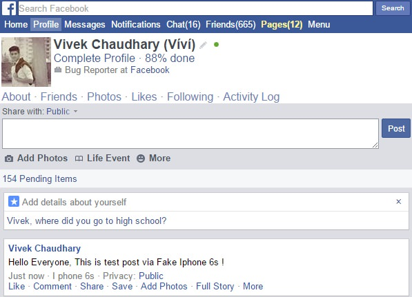how to post Facebook photo/image via fake device