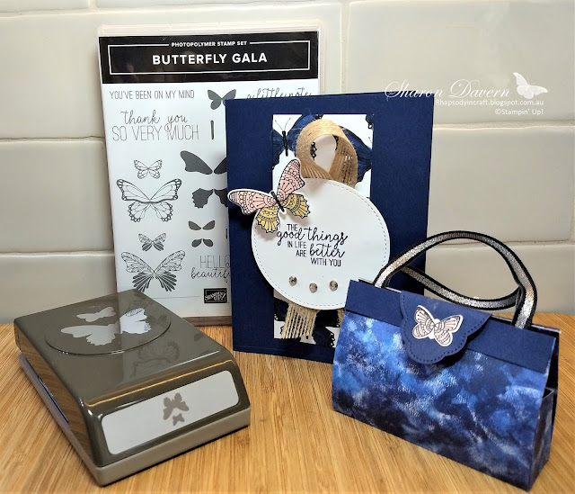 Butterfly Gala, Rhapsody in craft, Colour Creations Blog hop, Butterfly duet punch Garden impressions DSP, Night of Navy