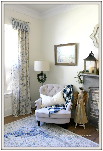 French Country-French Farmhouse-Christmas-Buffalo Check-Sitting Area-Bedroom-From My From Porch To Yours