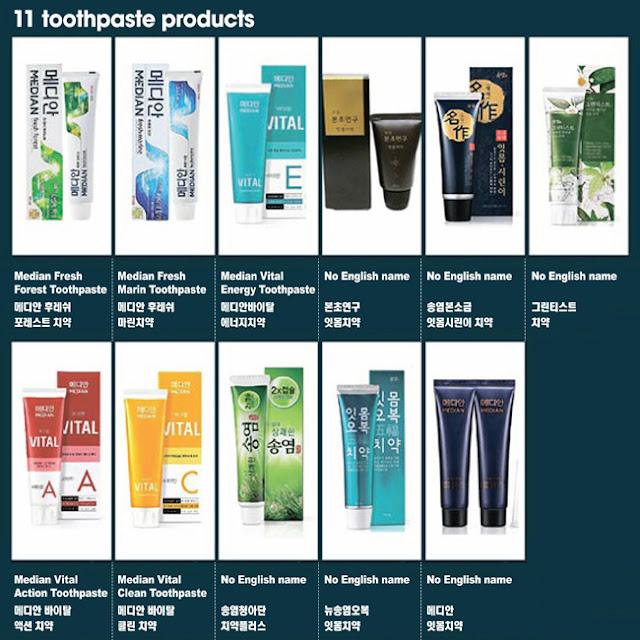 Tubos de pasta de dientes coreana tóxica