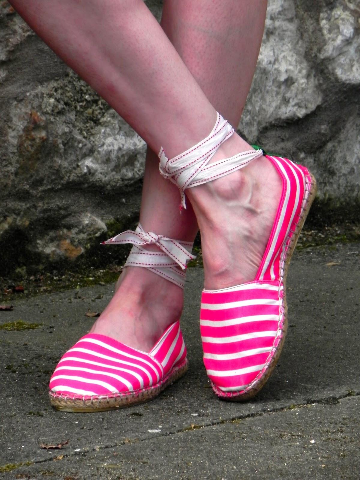 Hot pink espadrilles.