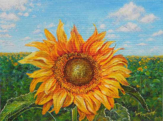 The Golden Sunflower by Lasya Upadhyaya (part of her portfolio on www.indiaart.com)