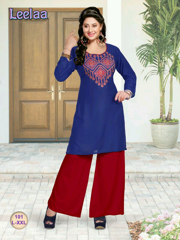 Leelaa – Rayon Unique Collection Of Embroidry Kurti