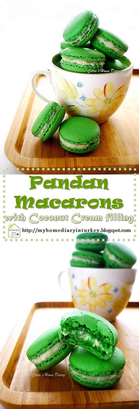 Pandan Macarons with Coconut Cream filling | Çitra's Home Diary.