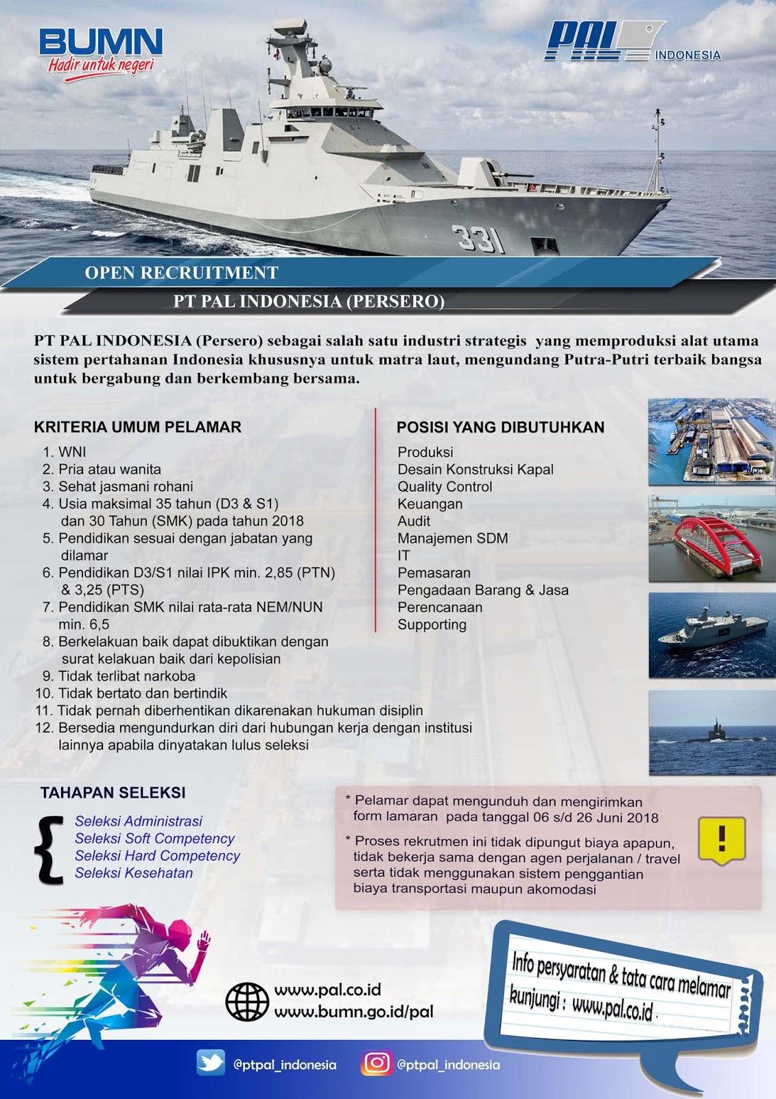 Lowongan Kerja PT. PAL Indonesia (Persero) 2018 pal2