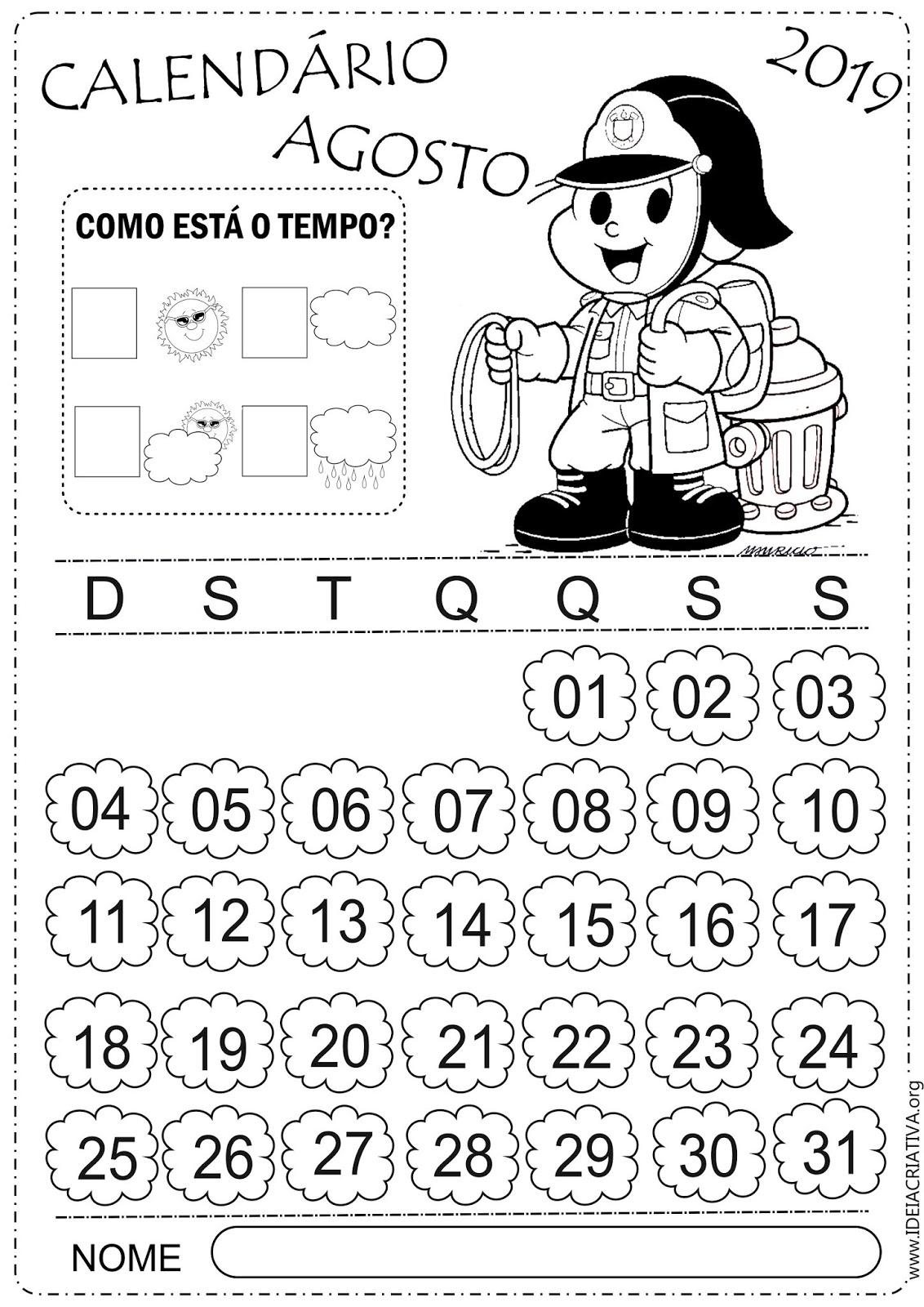 Calendario De Agosto 2019 Para Imprimir.Calendarios Agosto Turma Da Monica Para Colorir E Imprimir