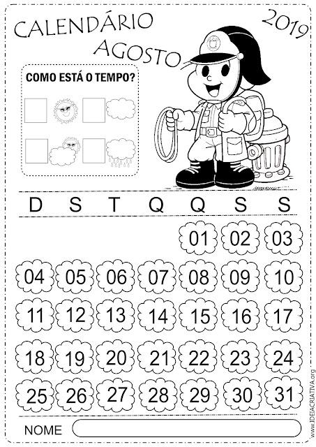 Calendários escolares para imprimir mês de Agosto 2019