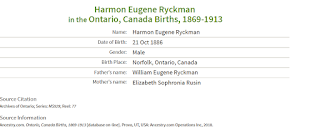 Index of birth registration, Harman Ryckman.
