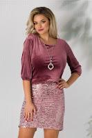 Rochie Alma roz din catifea cu paiete