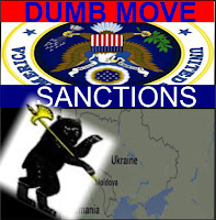 Graphic by Erika Grey of United States emblem upside down, with the caption Dumb Move above the emblem in Capital letters.  Bellow the US emblem is the Caption Sanctions, and below is a Russian bear with a weapon chopping into the S in Sanctions as it walks into Ukraine.