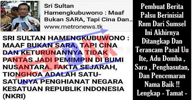 KAPOK !! Pengadu Domba SARA  Yang Catut Nama Sri Sultan Hamengkubuwono Ditangkap