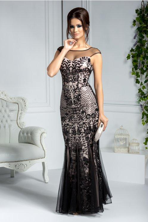 Rochie de lux lunga de seara din tull negru cu paiete stralucitoare