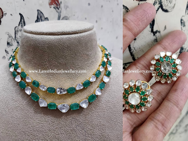 Polki Emerald Necklace with Studs