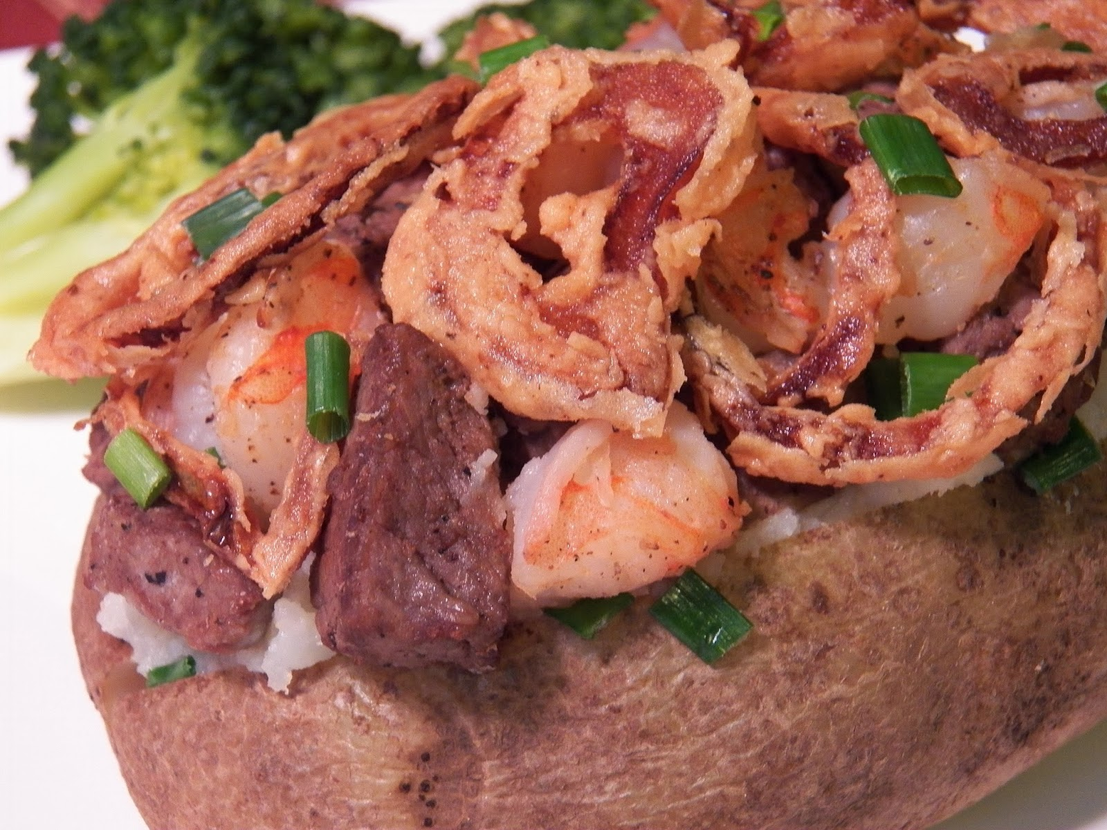 Surf and Turf Stuffed Potatoes Closeup